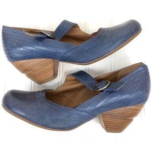 Miz Mooz blue leather Elroy Mary Jane pumps heels